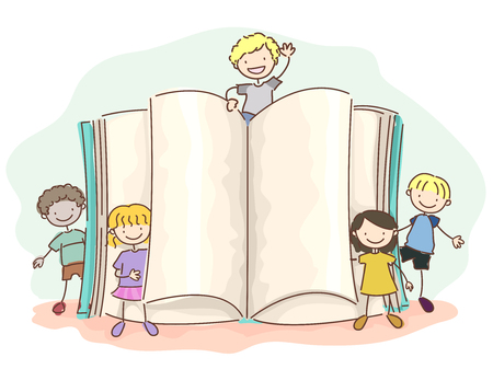 Illustration of Stickman Kids Standing Together with an Open Book