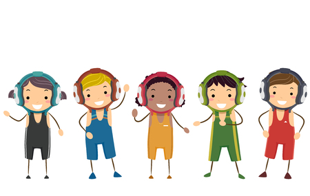 Illustration of Stickman Kids Wearing Wrestling Uniforms In Different Colors