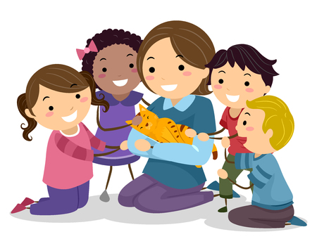 Illustration of Stickman Kids Interacting with a Tabby Cat Carried by their Teacher