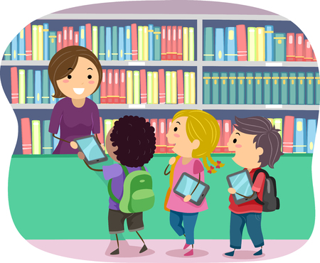 Illustration of Stickman Kids Borrowing Ebooks from the Library
