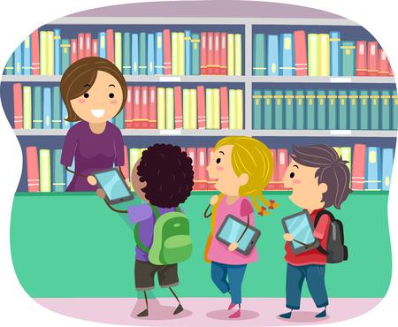 Illustration de Stickman Kids empruntant des livres électroniques de la bibliothèque
