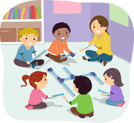 Illustration of Stickman Kids Doing Pipe Building Activity with their Teacher in Class