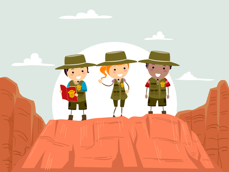 Illustration of Stickman Kids Wearing Uniform and Exploring the Canyons