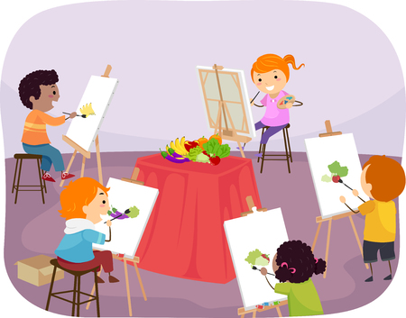 Illustration of Stickman Kids Painting Still Life on a Canvas on Easel in a Class