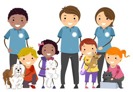 Illustration of Stickman Kids Holding Pet Dogs and Cats in a Shelter with Volunteers