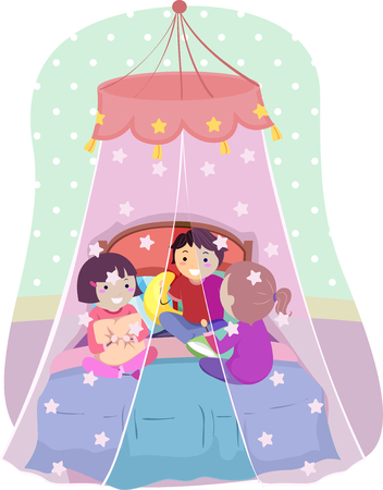 Illustration of Stickman Kids Inside a Net Canopy Over a Bed Talking to Each Other