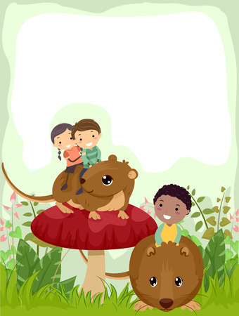 Background Illustration of Stickman Kids Riding Bank Voles In the Woodlands Stock Photo