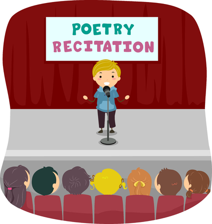 Illustration of a Stickman Kid Reciting Poetry on Stage with an Audience Full of Kids in His Class Stock Photo