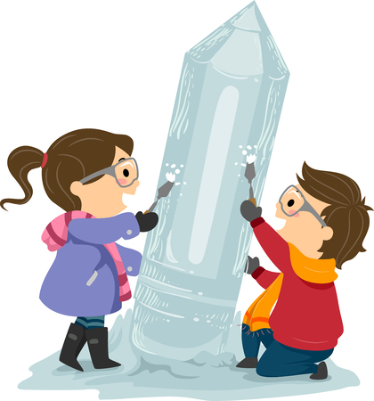 Illustration of Stickman Kids Wearing Winter Clothes and Carving a Pencil Ice Sculpture