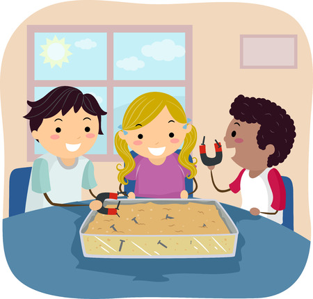 Illustration of Stickman Kids Working with a Sensory Bin with Magnet and Screw Stock Photo