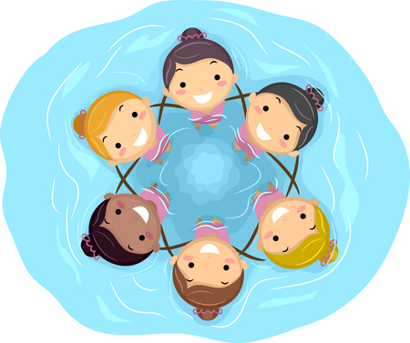 Illustration of Stickman Kid Girls in the Pool. A Synchronized Swimming Team