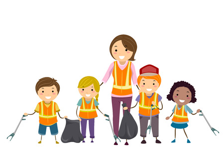 Illustration of Stickman Kids Holding Litter Picker and Garbage Bags with their Teacher Foto de archivo