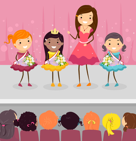 Illustration of Stickman Kids in a Children Beauty Pageant on Stage with their Teacher Host Banque d'images