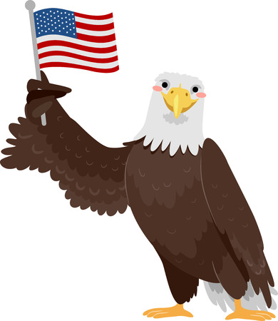 Illustration of a Bald Eagle Bird Holding an American Flag