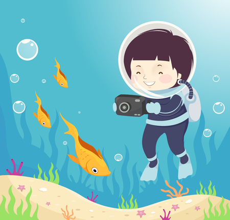 Illustration of a Kid Boy Scuba Diving and Taking Photos of Fish Underwater Standard-Bild - 98345463