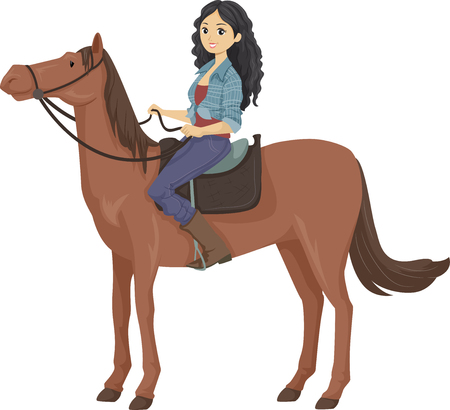 Illustration of a Teen Girl Sitting on a Saddle, Riding a Brown Horse