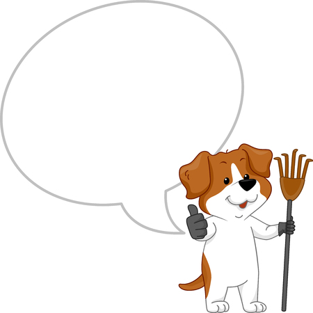 Illustration of a Dog Mascot with a Blank Speech Bubble Holding a Poop Cleaner and Making an Okay Sign