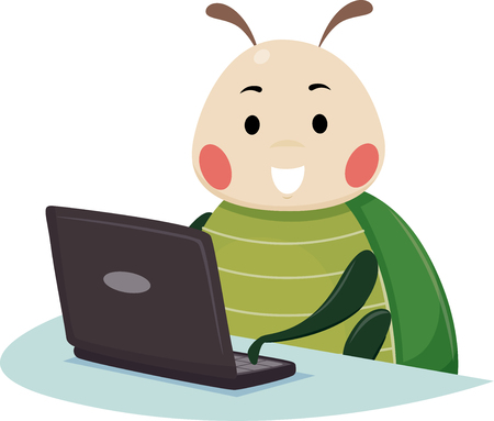 Illustration of a Bug Mascot Using a Laptop