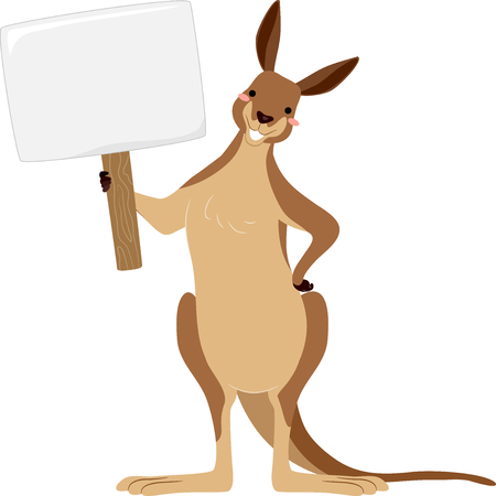 Illustration of a Kangaroo Mascot Holding a Blank Board 스톡 콘텐츠