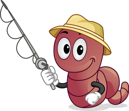 Illustration of a Worm Mascot Wearing a Hat and Holding a Fishing Rod