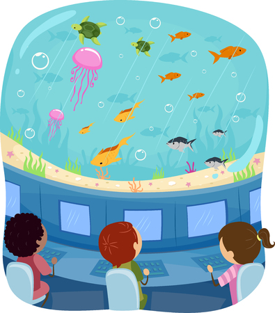 Illustration of Stickman Kids In a Submarine Studying Fish Underwater Foto de archivo