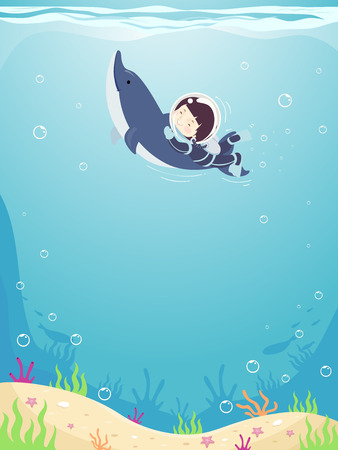 Background Illustration of a Kid Boy Scuba Diving with a Dolphin