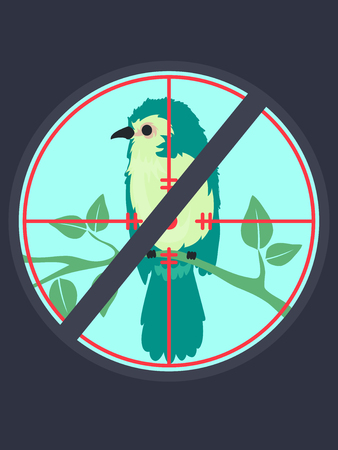 Illustration of a Stop Sign Over a Shooting Target Pointed Towards a Bird