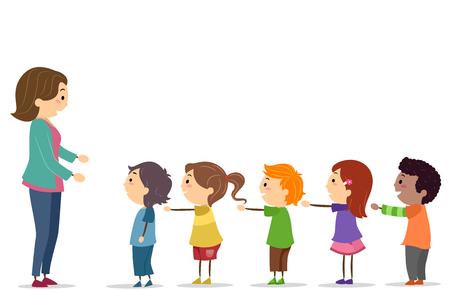 Ilustracja Stickman Kids z rękami stojącymi w kolejce przed nauczycielem Zdjęcie Seryjne
