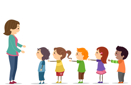 Illustration of Stickman Kids with Arms Up Standing in Line In Front of the Teacher