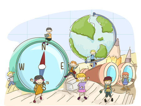 Illustration of Stickman Kids Among Geography Elements from Compass, Globe to Binoculars Zdjęcie Seryjne