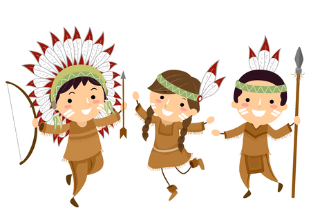 Illustration of Stickman Kids Wearing Native American Indian Clothes and Holding Hunting Tools