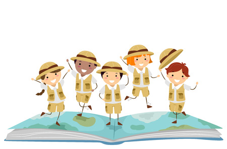 Illustration of Stickman Kids Explorer On Top of an Open Story Book