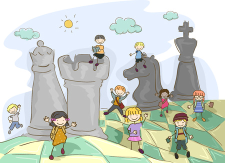 Fantasy Illustration of Stickman Kids Playing with Chess Pieces on Board