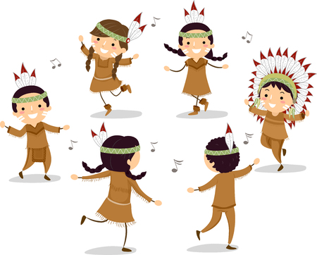 Illustration of Native American Stickman Kids Dancing in Circle to Music