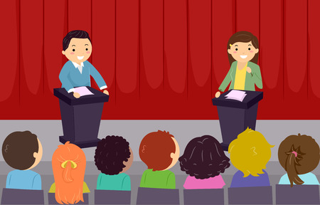 Illustration of Stickman Kids In Front of an Audience On Stage for a School Debate Standard-Bild - 102736979