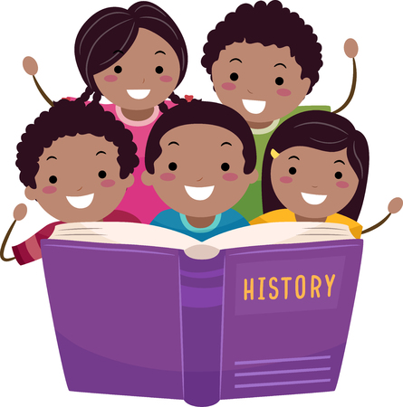 Illustration of African American Stickman Kids Reading an Open Book about History