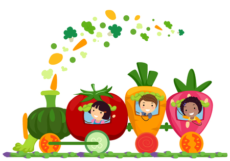Illustration of Stickman Kids Riding a Vegetable Train with Vegetables Coming Out