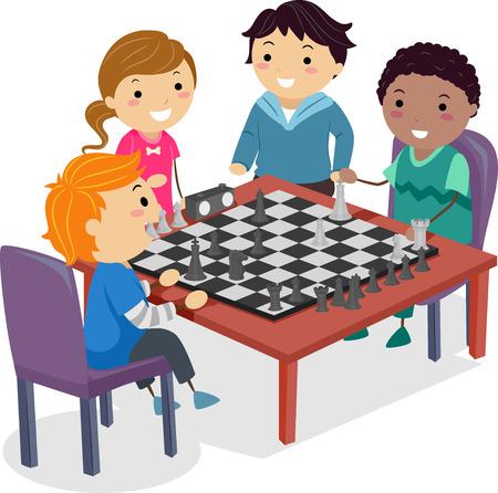 Illustratie van Stickman-kinderen die schaken op hun schoolclub om te oefenen