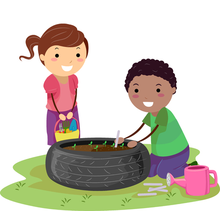 Illustration of Stickman Kids Recycling a Tire for Planting in the Garden 写真素材