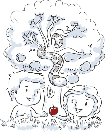 Illustration of Eve Giving an Apple to Adam In Front of the Snake Hanging from a Tree Stock Photo