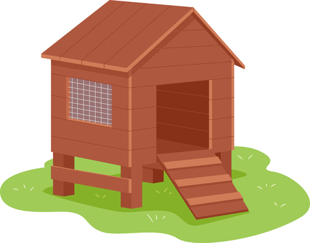 Illustration of a Small Open Chicken Coop in the Garden