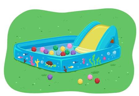 Illustration of a Kid Pool with a Slide Filled with Water and Balls Stock Photo