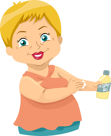 Illustration of a Senior Woman Applying Sunscreen Lotion on Skin Standard-Bild - 103445350