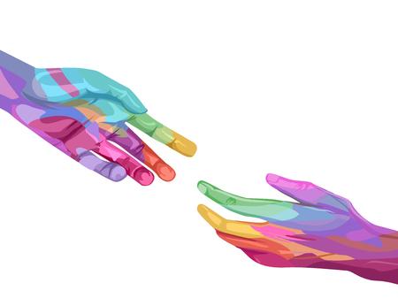 Ilustración de manos en colores del arco iris alcanzando el uno al otro Foto de archivo