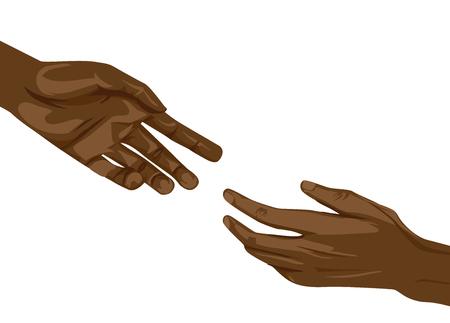 Ilustración de manos afroamericanas alcanzando el uno al otro. Concepto de ayuda