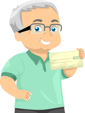 Illustration of a Senior Man Showing a Check He Received as Pension