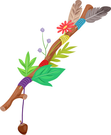 Illustration of a Journey Stick Full of Leaves, Feathers, Flowers and String 스톡 콘텐츠