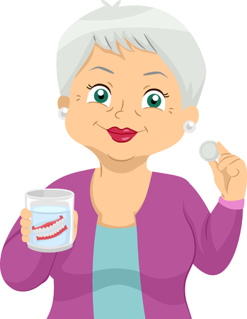 Illustration of a Senior Woman Showing Her Dentures in Glass Solution and a Tablet for Cleaning Standard-Bild - 103370116