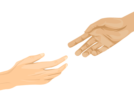 Illustration of Two Hands Reaching Out to Each Other 스톡 콘텐츠