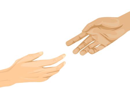 Ilustración de dos manos extendiéndose entre sí